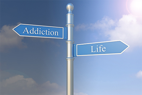 "Image of a sign post with two arrows pointing in opposite directions ""Addiction"" and ""Life"""