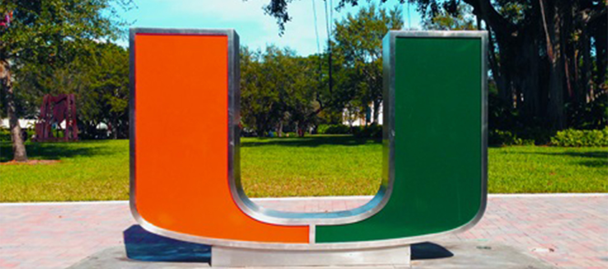 The University of Miami U on the Foote Green
